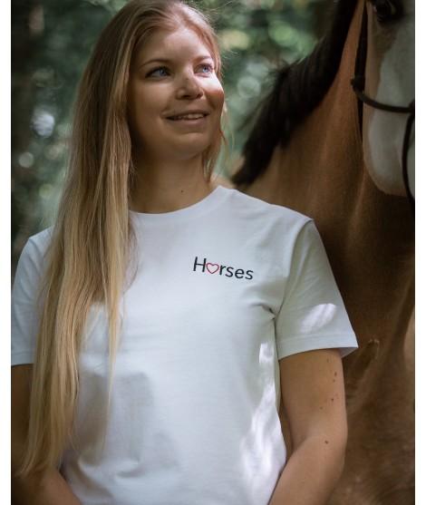 T-shirt « Horses » brodé blanc