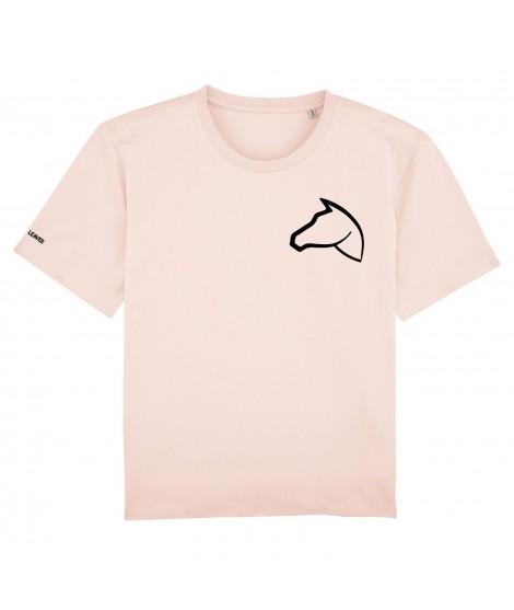 T-shirt brodé rose poudré